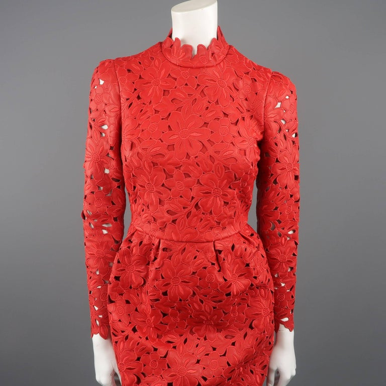Valentino Dress - 50th Anniversary - Fall 2012 Runway - Red, Leather, Cocktail  In Excellent Condition For Sale In San Francisco, CA