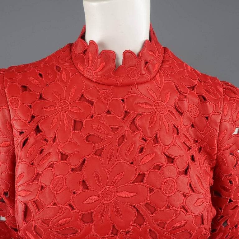 Women's Valentino Dress - 50th Anniversary - Fall 2012 Runway - Red, Leather, Cocktail  For Sale