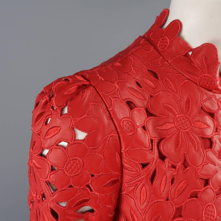 Valentino Dress - 50th Anniversary - Fall 2012 Runway - Red, Leather, Cocktail  For Sale 1