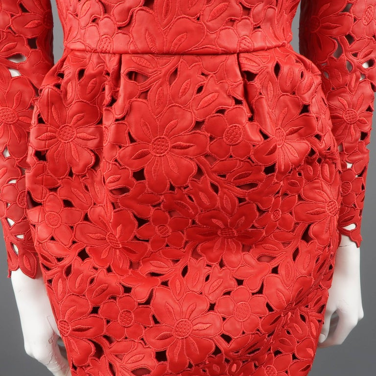 Valentino Dress - 50th Anniversary - Fall 2012 Runway - Red, Leather, Cocktail  For Sale 2
