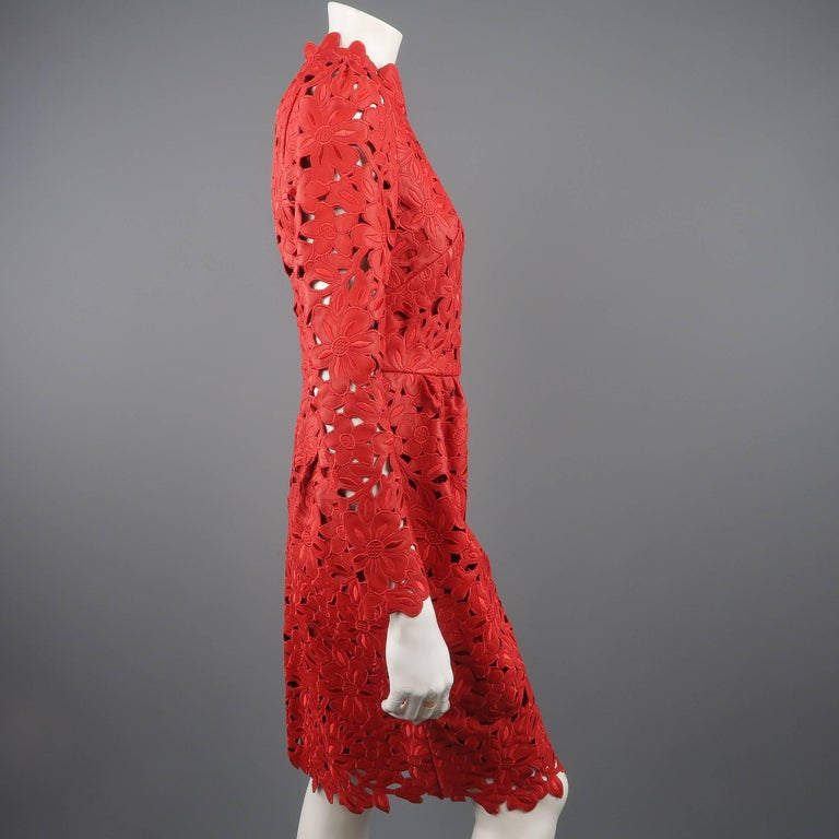 Valentino Dress - 50th Anniversary - Fall 2012 Runway - Red, Leather, Cocktail  For Sale 4