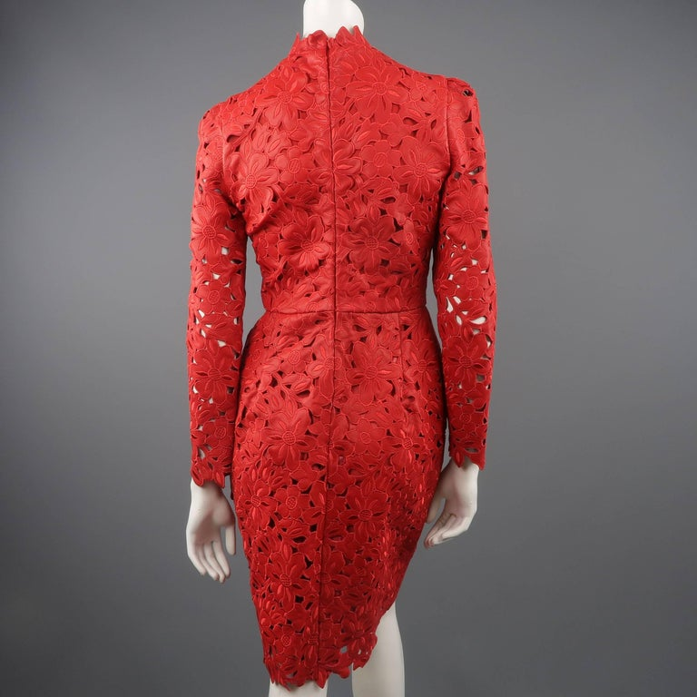 Valentino Dress - 50th Anniversary - Fall 2012 Runway - Red, Leather, Cocktail  For Sale 5