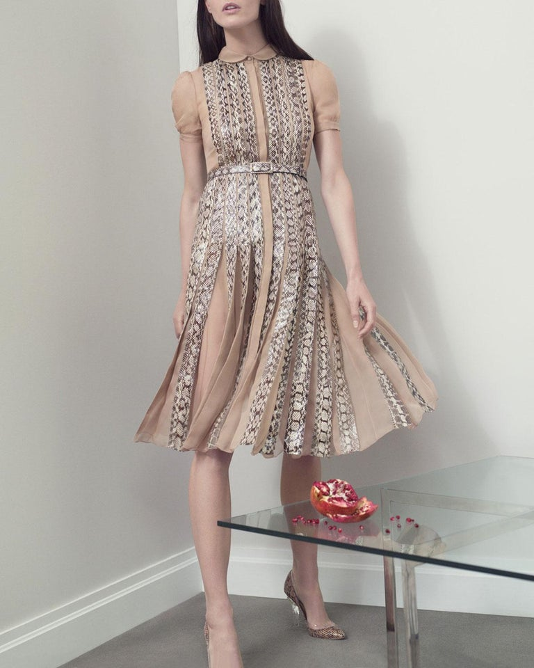 Beige Valentino Silk and Snake Skin Pleated Cocktail Dress, Spring 2013 Runway  For Sale