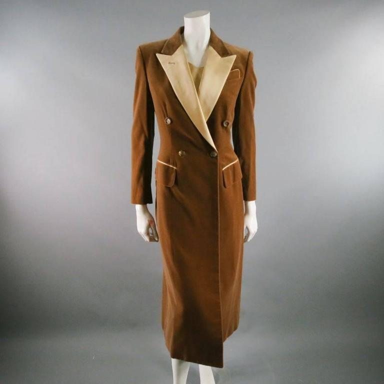 RICHARD TYLER 8 Champagne Silk Shift Dress & Brown Double Breasted Tuxedo Coat 2