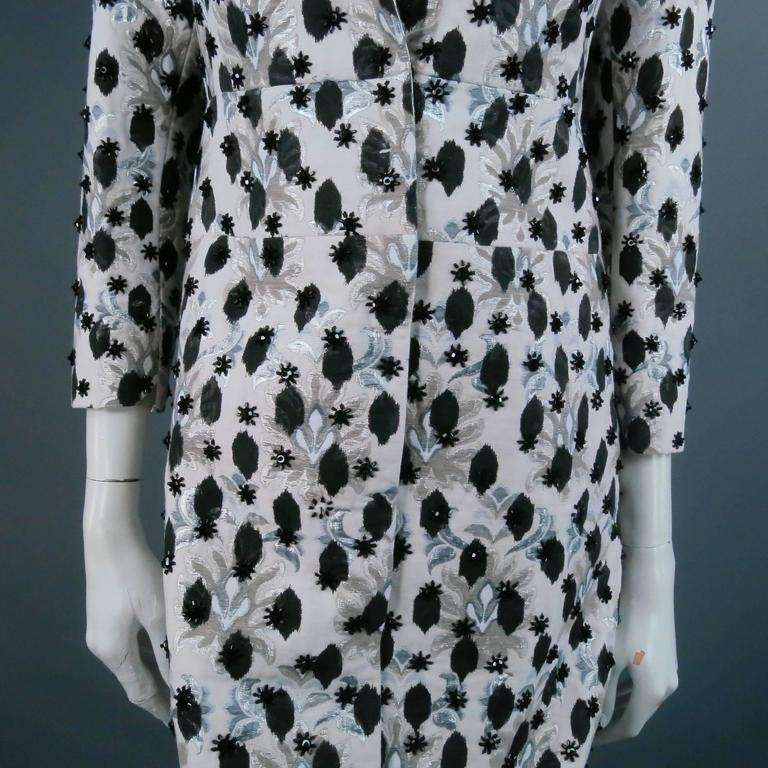 Giambattista Valli Gray Brocade Floral Beaded Coat Dress  In Excellent Condition For Sale In San Francisco, CA