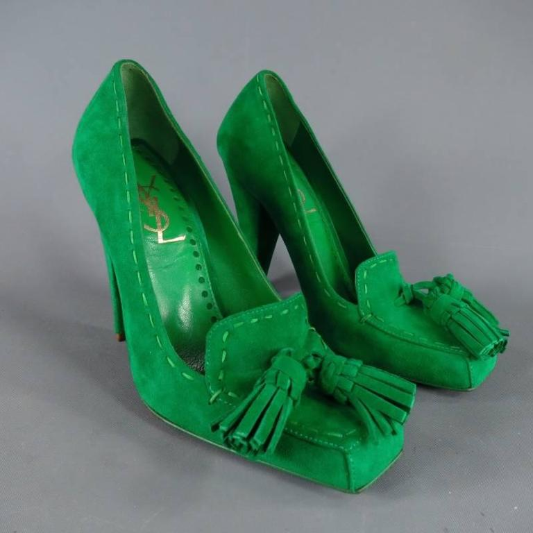 YVES SAINT LAURENT Size 6 Green Suede Tassels -Saint GERMAN- Pumps 3