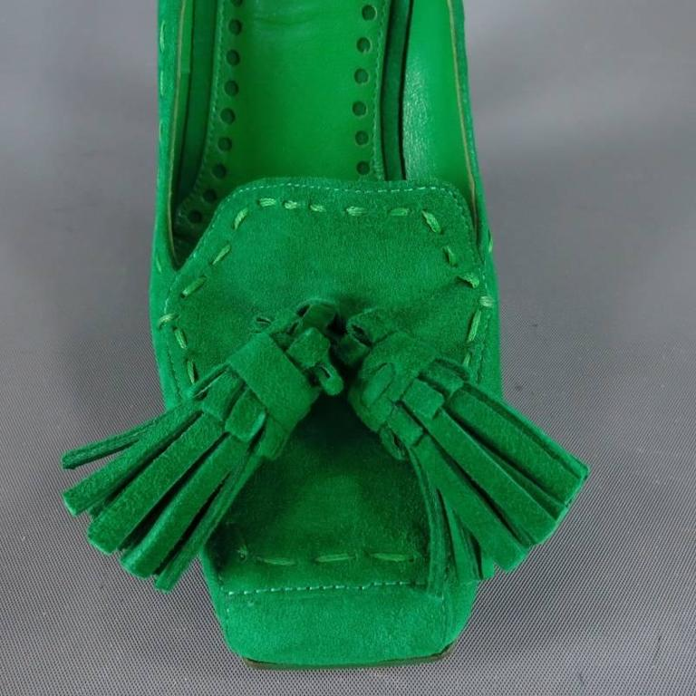 YVES SAINT LAURENT Size 6 Green Suede Tassels -Saint GERMAN- Pumps 5