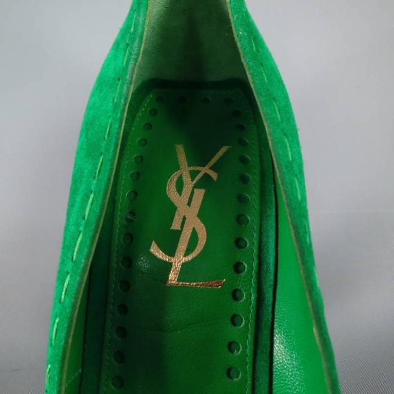 YVES SAINT LAURENT Size 6 Green Suede Tassels -Saint GERMAN- Pumps 6