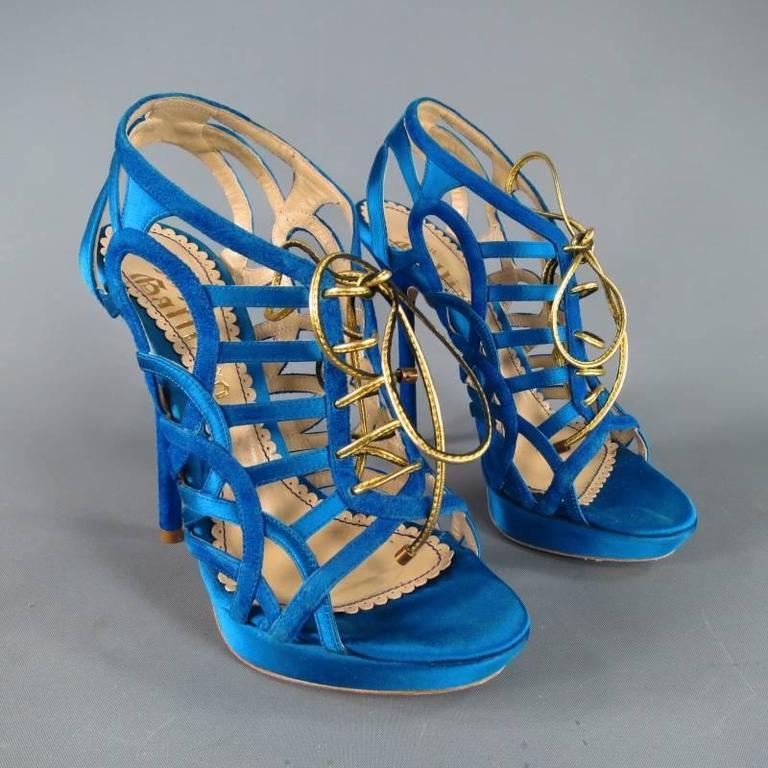 John Galliano Aqua Blue Silk and Suede Platform Gold Lace Up Platform Sandals For Sale 1