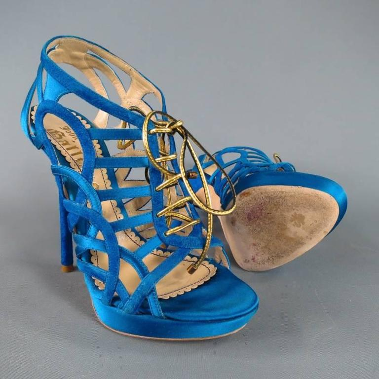 John Galliano Aqua Blue Silk and Suede Platform Gold Lace Up Platform Sandals In Excellent Condition For Sale In San Francisco, CA