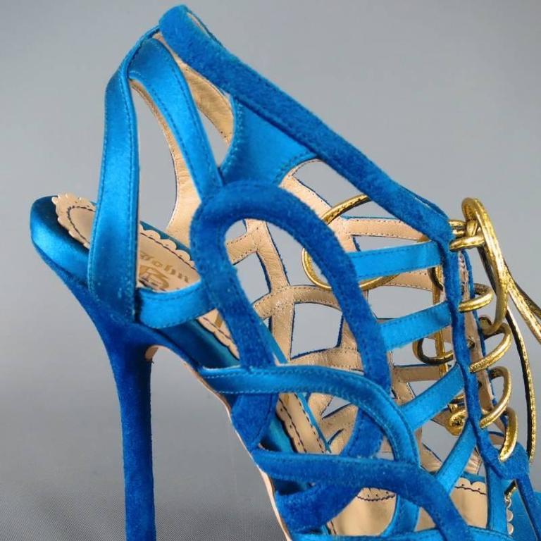 Women's John Galliano Aqua Blue Silk and Suede Platform Gold Lace Up Platform Sandals For Sale