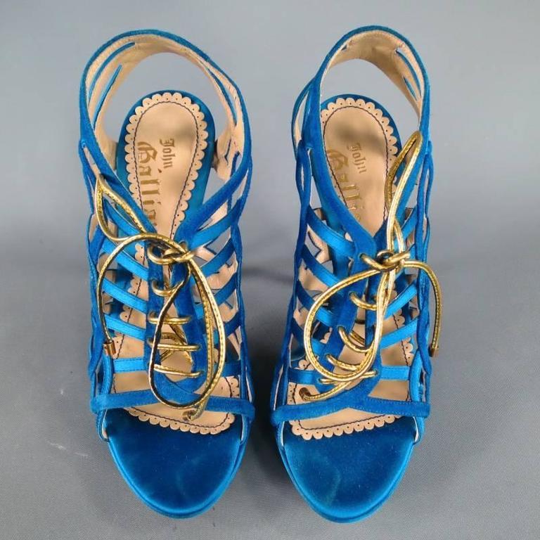 John Galliano Aqua Blue Silk and Suede Platform Gold Lace Up Platform Sandals For Sale 3