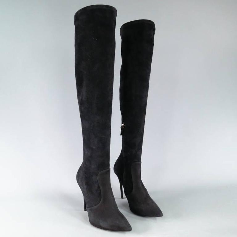 GIUSEPPE ZANOTTI Size 6.5 Black Suede Pointed Over the Knee Yvette Heel Boots 3