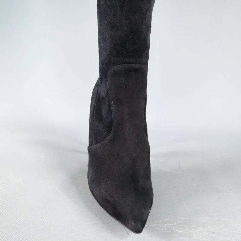 GIUSEPPE ZANOTTI Size 6.5 Black Suede Pointed Over the Knee Yvette Heel Boots 4