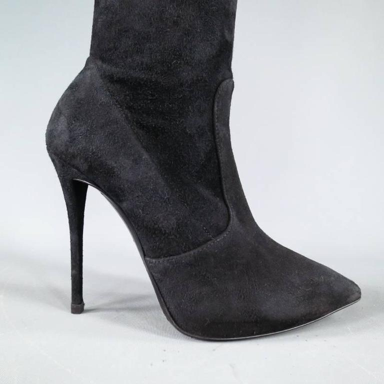 GIUSEPPE ZANOTTI Size 6.5 Black Suede Pointed Over the Knee Yvette Heel Boots 2