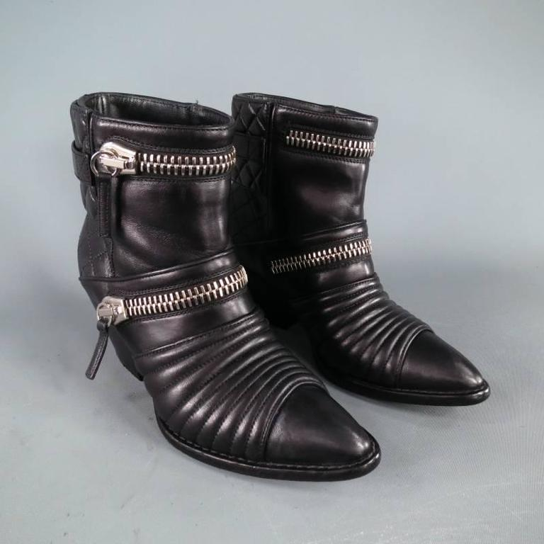 GIUSEPPE ZANOTTI Size 6.5 Black Leather Zip Detail Quilted Ankle Boots 2