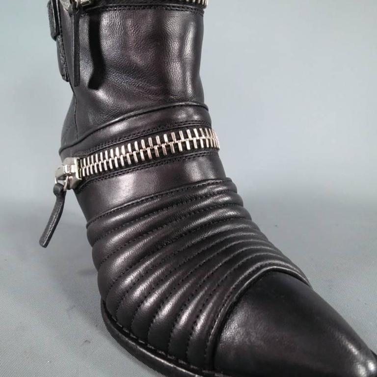 GIUSEPPE ZANOTTI Size 6.5 Black Leather Zip Detail Quilted Ankle Boots 4