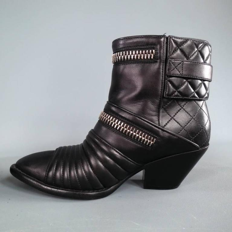 GIUSEPPE ZANOTTI Size 6.5 Black Leather Zip Detail Quilted Ankle Boots 6