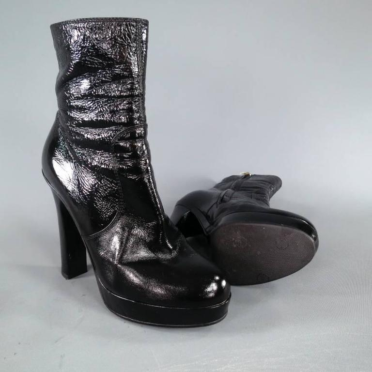 YVES SAINT LAURENT Size 6.5 Black Patent Leather Thick Heel Platform Ankle Boots 3