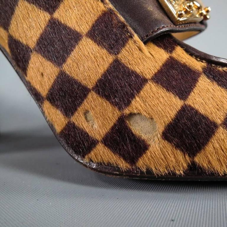 240ba756638 LOUIS VUITTON Size 6 Beige Brown Checkered Pony Hair Glod Buckle Mary Jane  Pumps at 1stdibs