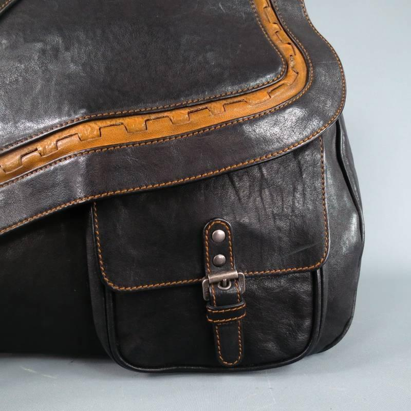Dior Black And Brown Leather Sac Gaucho Belt Buckle Saddle