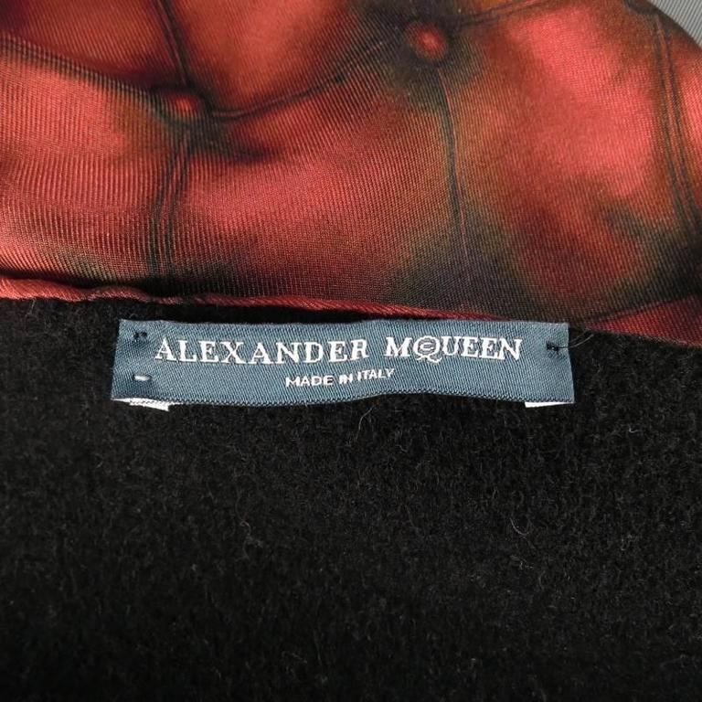 Brown Alexander Mcqueen Red Tufted Print Satin Fringe Scarf For Sale
