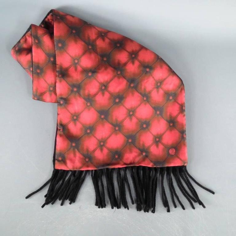 Fabulous winter scarf by Alexander Mcqueen. A unique style featuring red tufted print silk over a black wool with fringe trim. Made in Italy.   Excellent Pre-Owned Condition.   68 in. X 10.5 in.