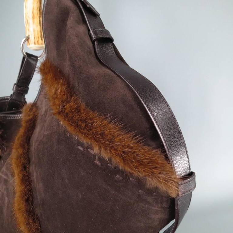 Yves Saint Laurent By Tom Ford Brown Suede And Fur Mombasa