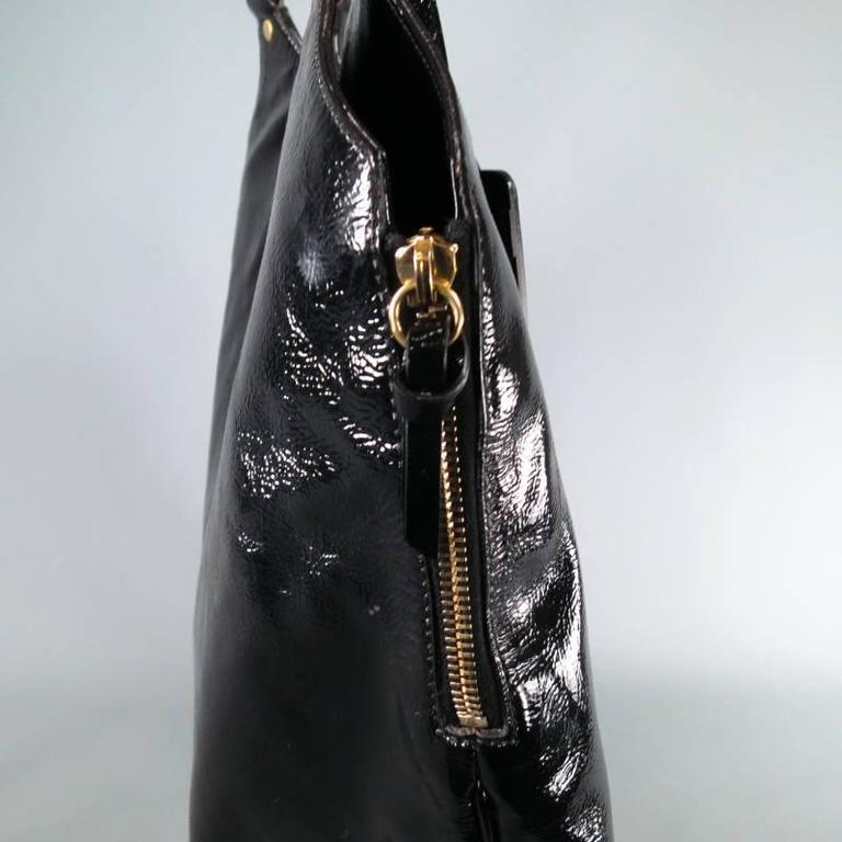 YVES SAINT LAURENT Black Patent Leather -TRIBUTE- Side Zip Luggage Tag Tote  Bag In f519941b80