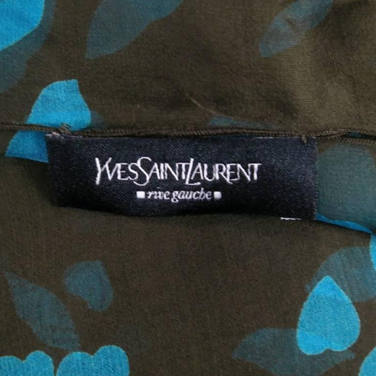 Yves Saint Laurent Green and Blue Lip Print Chiffon Scarf Shawl Top For Sale 2