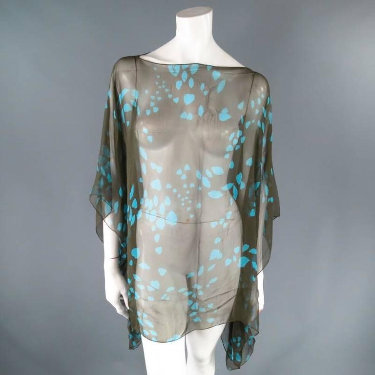 Women's Yves Saint Laurent Green and Blue Lip Print Chiffon Scarf Shawl Top For Sale