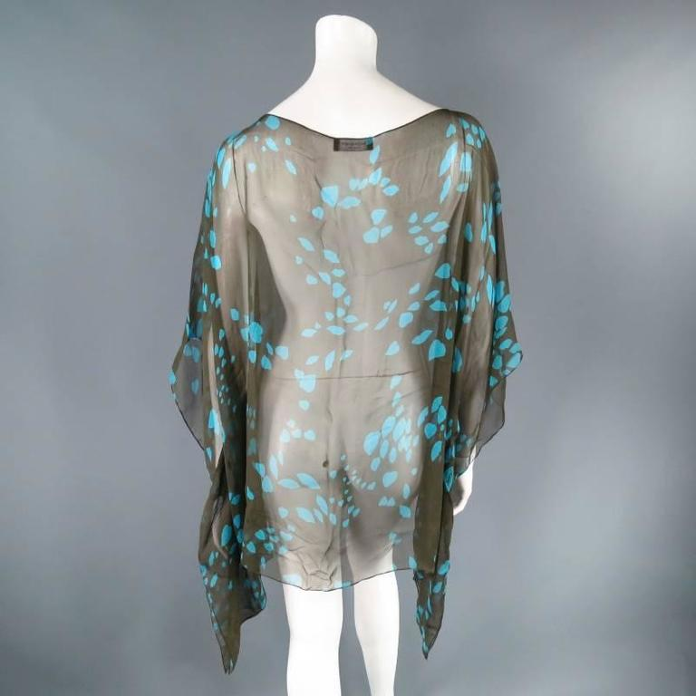 Yves Saint Laurent Green and Blue Lip Print Chiffon Scarf Shawl Top For Sale 4