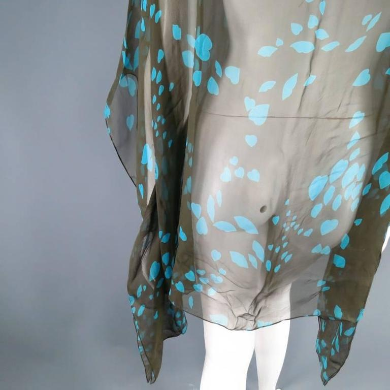 Yves Saint Laurent Green and Blue Lip Print Chiffon Scarf Shawl Top For Sale 5