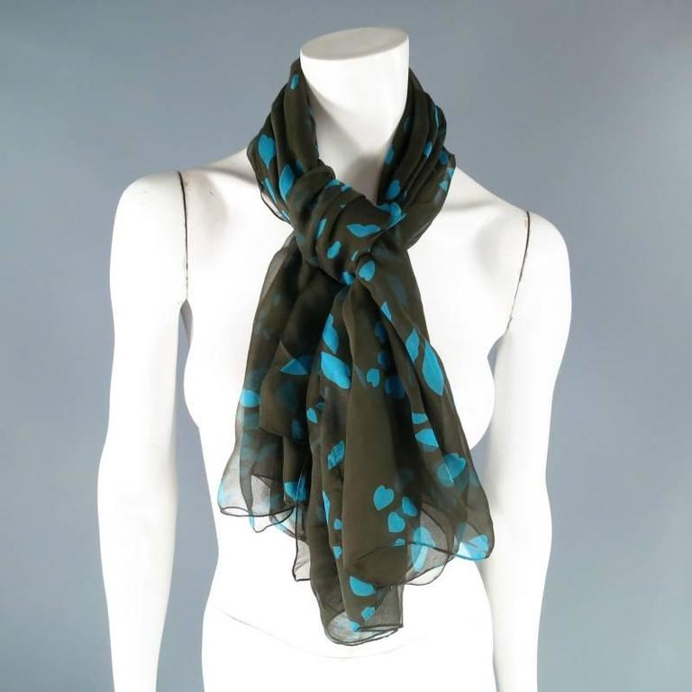 Gray Yves Saint Laurent Green and Blue Lip Print Chiffon Scarf Shawl Top For Sale