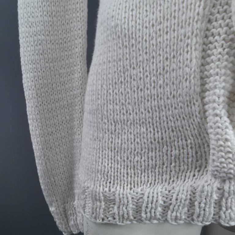 Ann Demeulemeester Size S Chunky White Mesh Cable Knit V