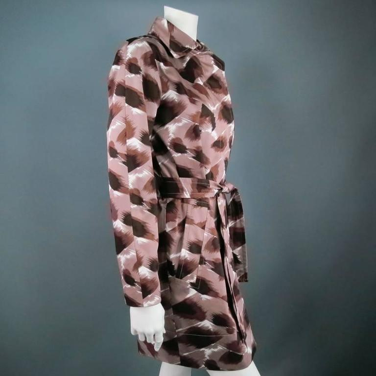 Women's GUCCI Size 6 Taupe Cotton Marble Brush Stroke Print Belted Trenchcoat For Sale