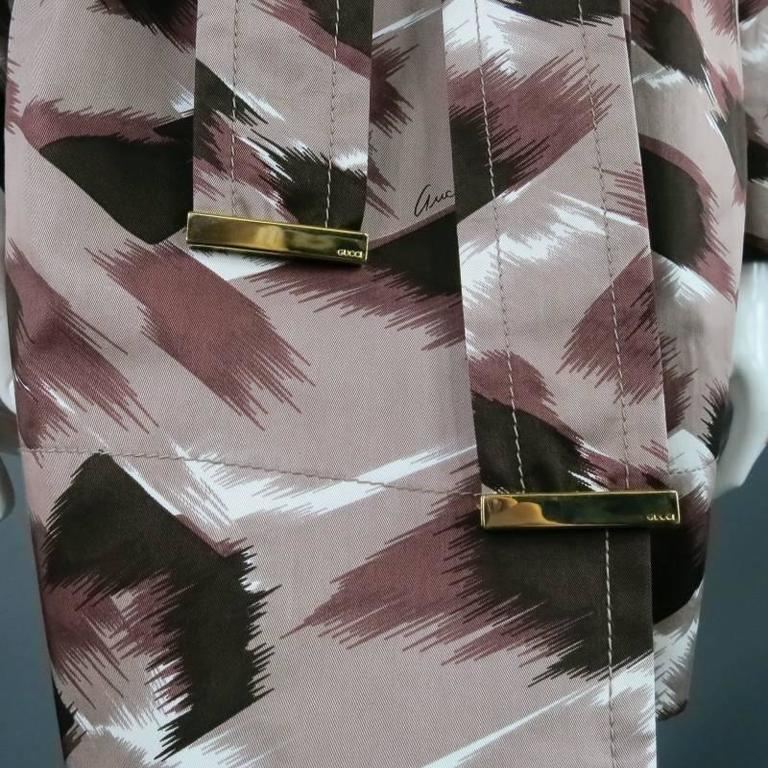 GUCCI Size 6 Taupe Cotton Marble Brush Stroke Print Belted Trenchcoat For Sale 5