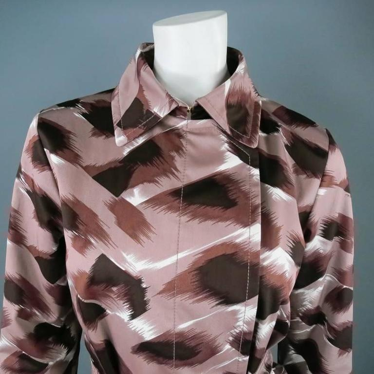 Gray GUCCI Size 6 Taupe Cotton Marble Brush Stroke Print Belted Trenchcoat For Sale