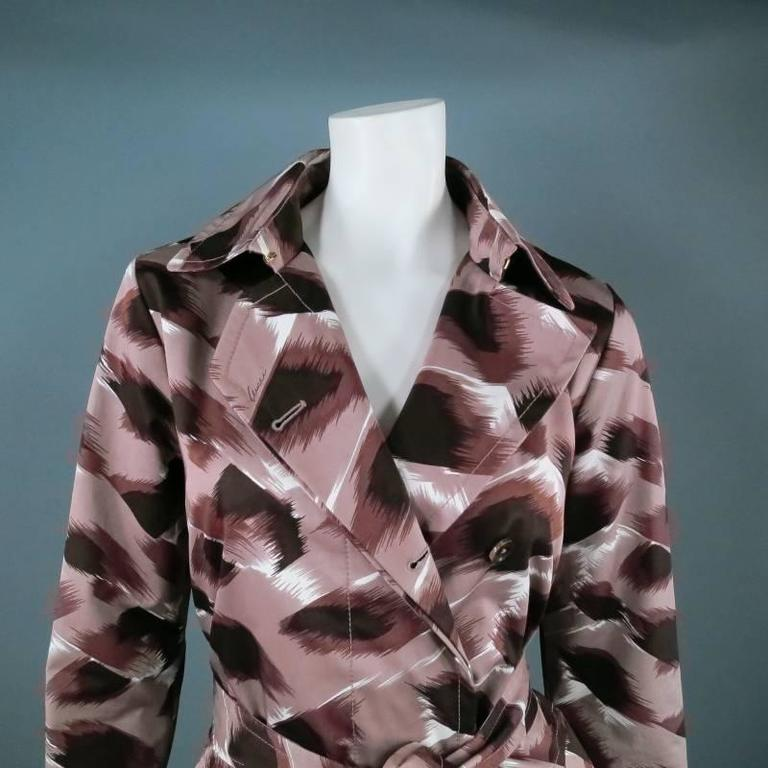 GUCCI Size 6 Taupe Cotton Marble Brush Stroke Print Belted Trenchcoat 4