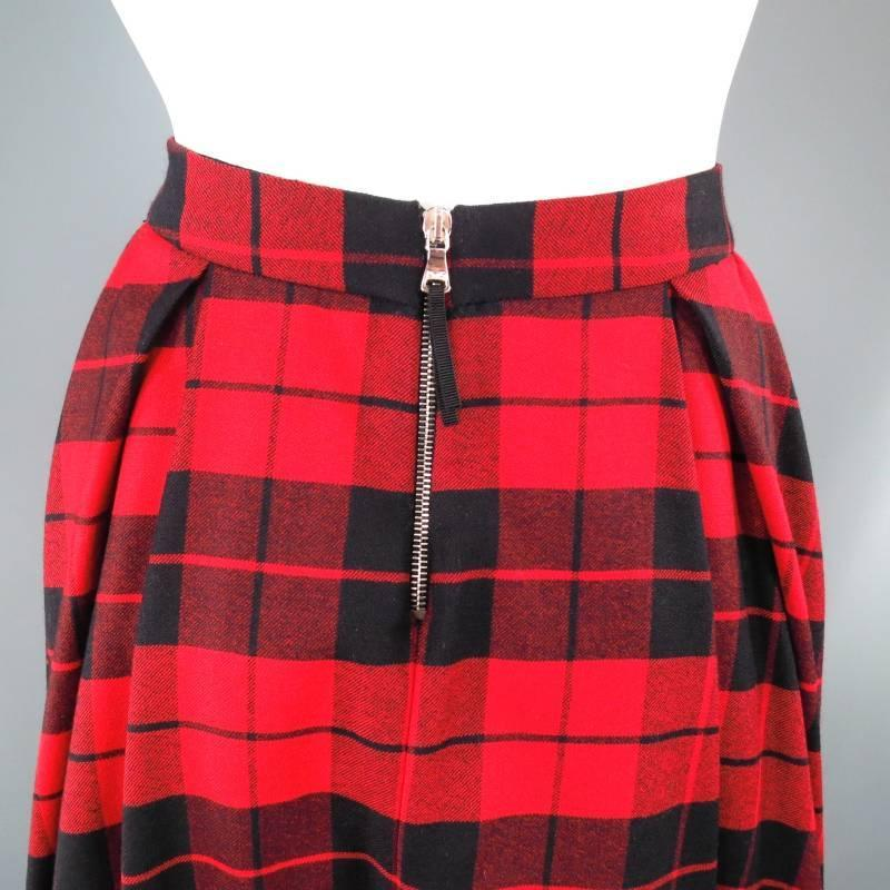 D Amp G Size 2 Red And Black Plaid Lana Wool Pleated Crinoline