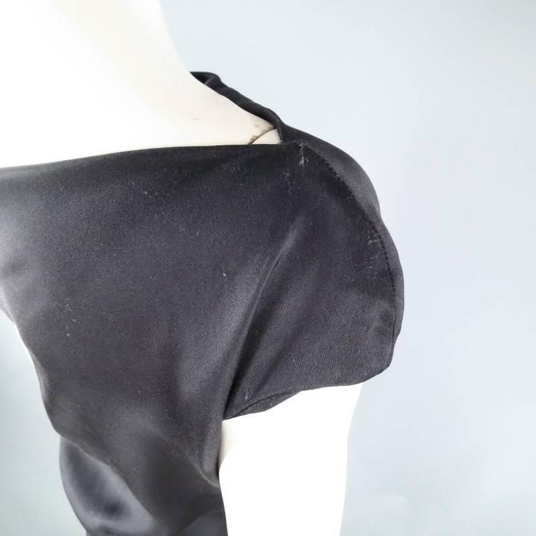 ALEXANDER MCQUEEN Size 6 Black Silk Moon Print Belt Strap Blouse For Sale 1