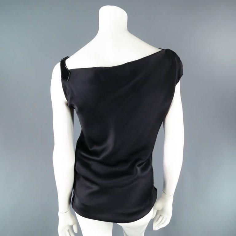 ALEXANDER MCQUEEN Size 6 Black Silk Moon Print Belt Strap Blouse For Sale 2