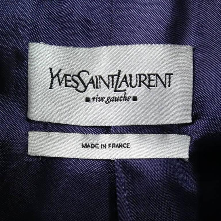 YVES SAINT LAURENT by TOM FORD Size 6 Lavender Velvet Military Jacket 2004 For Sale 5