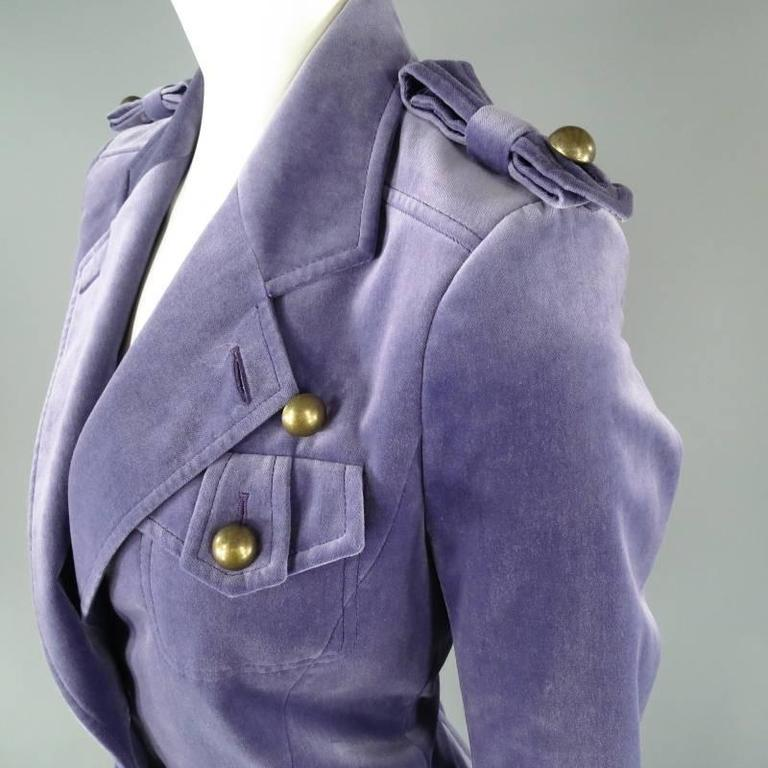 YVES SAINT LAURENT by TOM FORD Size 6 Lavender Velvet Military Jacket 2004 In Excellent Condition For Sale In San Francisco, CA
