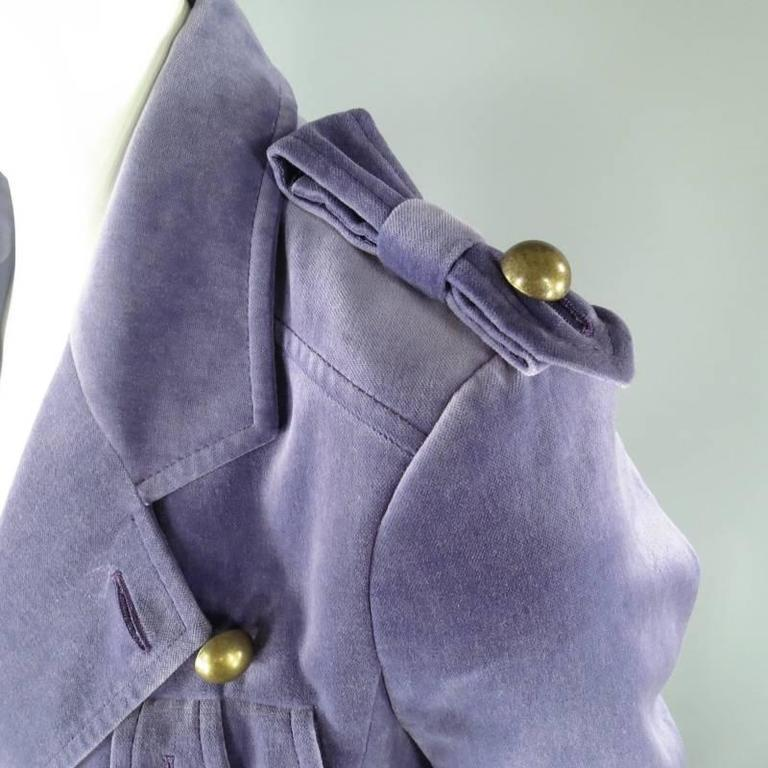 Women's YVES SAINT LAURENT by TOM FORD Size 6 Lavender Velvet Military Jacket 2004 For Sale