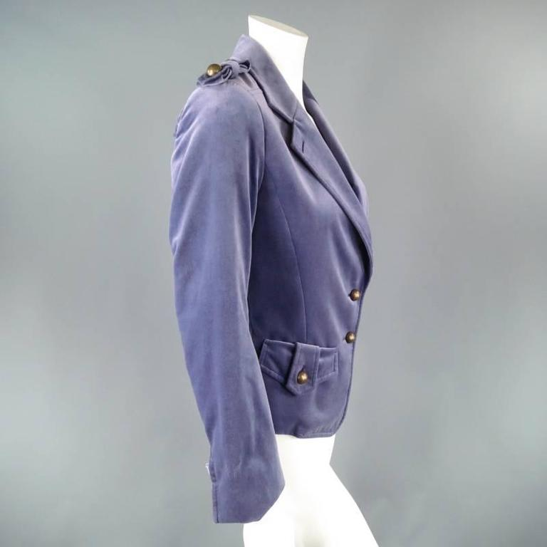 YVES SAINT LAURENT by TOM FORD Size 6 Lavender Velvet Military Jacket 2004 For Sale 4