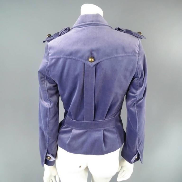 YVES SAINT LAURENT by TOM FORD Size 6 Lavender Velvet Military Jacket 2004 For Sale 2
