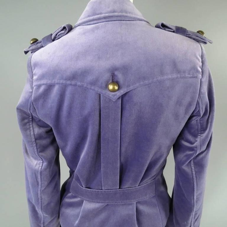 YVES SAINT LAURENT by TOM FORD Size 6 Lavender Velvet Military Jacket 2004 For Sale 1