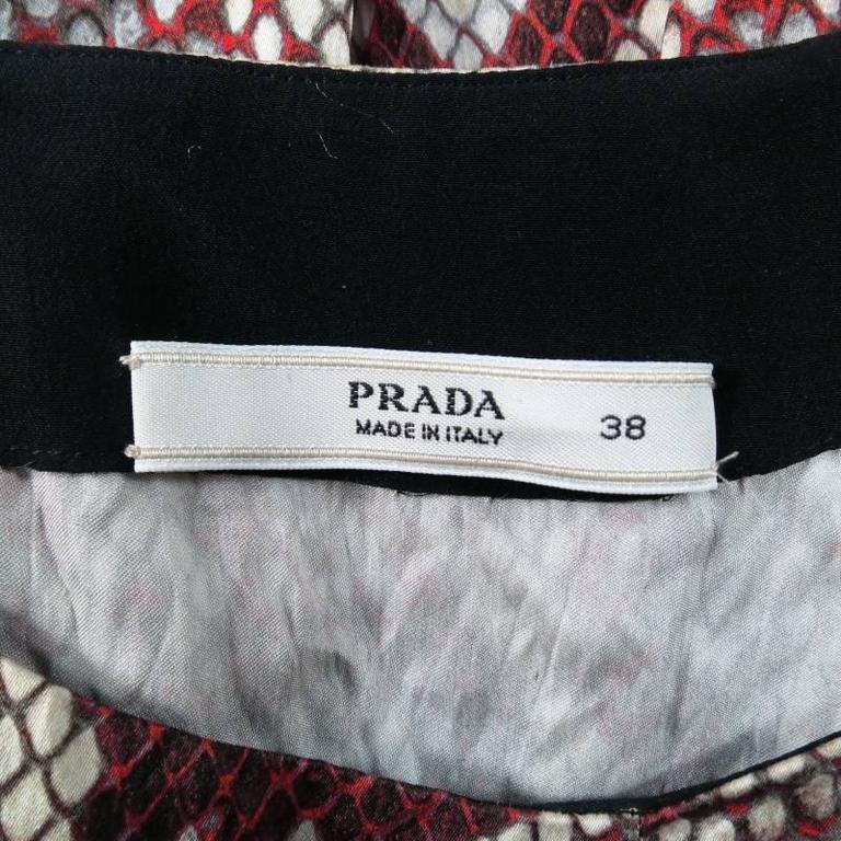 PRADA Size 2 Red Wrinkled Cotton / Silk Tied Cocktail Dress Spring 2009 10