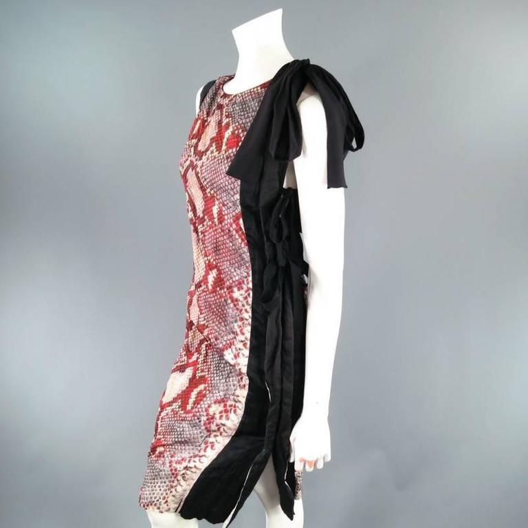 PRADA Size 2 Red Wrinkled Cotton / Silk Tied Cocktail Dress Spring 2009 2